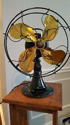 "Antique EMERSON 12"" Brass Blades, 3 Speed, Osillating Fan 29646"