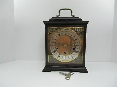Vintage Junghans 8 Day Chime Carriage Style Mantel Clock With Key-Germany-Nice!