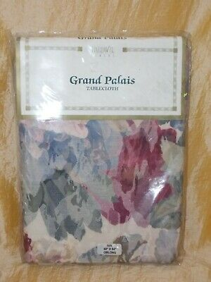 """Bardwill Grand Palais Tablecloth Rose Floral Pattern Oblong 60"""" x 84"""" Fabric"""
