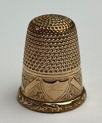 Antique 14K Yellow Gold Beautiful Chased Victorian Shield Design Sewing Thimble