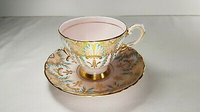 Tuscan Tea cup and Saucer. Detailed Gold Pattern. Pink with Enameled Blue.