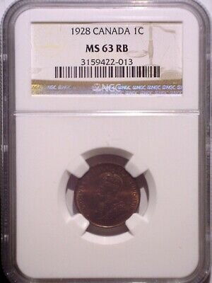 1928 NGC MS63RB Canada Small One cent - Clean Holder - Penny - 1C - Plenty RED!