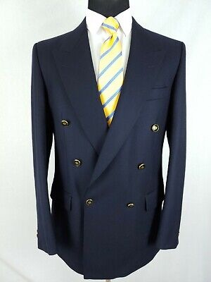 Magee Donegal Mens Double Breasted Blazer Jacket Navy Blue Gold Bttn Wool Sz 40L