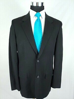 Michael Kors Mens Black Cotton Linen 2Button Sport Coat Blazer Jacket Size 40R