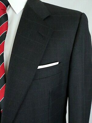 Hickey Freeman Loro Piana Blazer Jacket Sport Coat Wool Grey Red Pane Men 40/41R
