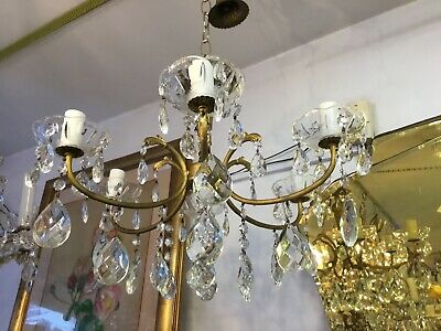 VINTAGE PAIR 2x CHANDELIER HALLWAY BEDROOM 6 LOUNGE ROOM LIGHT FRENCH CRYSTAL