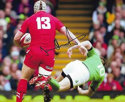 """NEW HAND SIGNED 10"""" x 8"""" COLOUR PRINT - JONATHAN DAVIES - WALES RUGBY UNION STAR"""