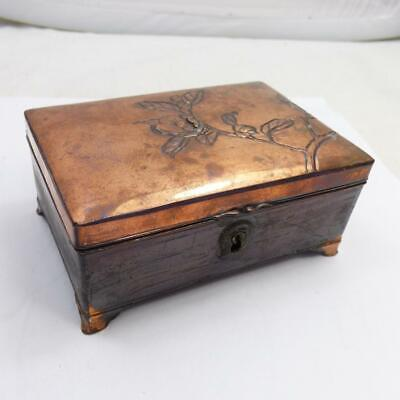 ANTIQUE JAPANESE METAL SMALL LINED TRINKET BOX VINTAGE antimony with lock