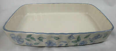 BHS Bristol Blue pottery rectangular flan quiche oven dish 10.5x7 fluted oblong