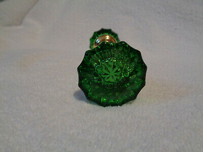 EMERALD GREEN 1920/'S SOLID BRASS HUBS ANTIQUE GLASS DOORKNOBS COLORED /& DYED
