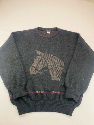 Mark Shale Mens Pullover Sweater Gray Marled Horse Crew Neck 100% Virgin Wool M