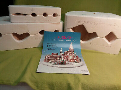 1988 Ceramichrome Dickens Village Church, trees & carolers-set of 3 ceramic mold