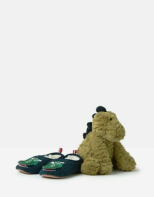 Joules Boys Slipper And Soft Toy Gift Set - GREEN DINO Size XL