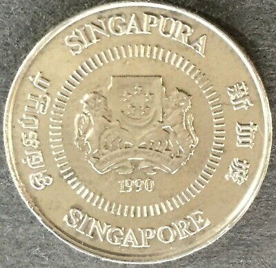 Vintage 1990 Singapore Winter Jasmine 10 Cent Coin