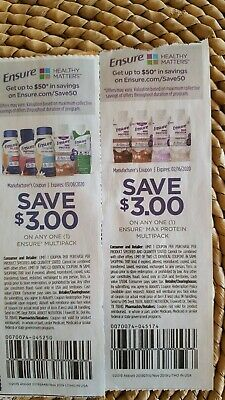 Ensure coupons, Set of 2. Save $6! Exp date Feb 16 and Mar 8, 2020 Shipped ASAP.