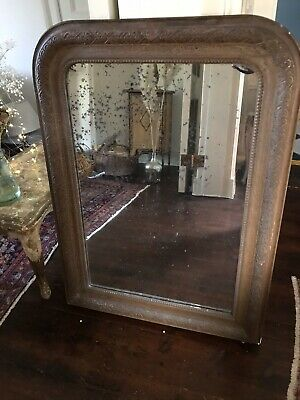 Large Distressed Antique French Ornate Wooden Over mantle Mirror