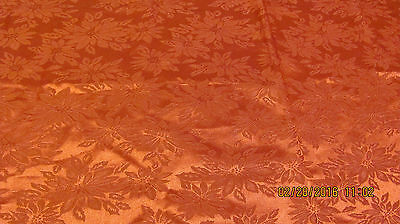 "Red Poinsettia Damask Christmas Tablecloth 68"" X 52"""