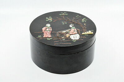 Antique Chinese wooden box inlaid lid, 8 inches wide -🐘