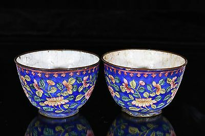 Pair of Antique Chinese Small Cloisonne Cup