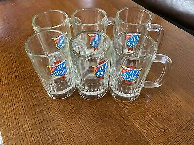 (6) Vintage Old Style Beer Mugs Thick Walled Glass