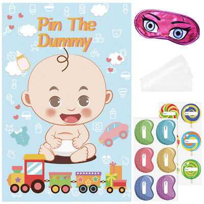 """/""""Pin The Bottle On The Baby/"""" Game Baby Shower Fun Party Blindfold Favor Poster"""