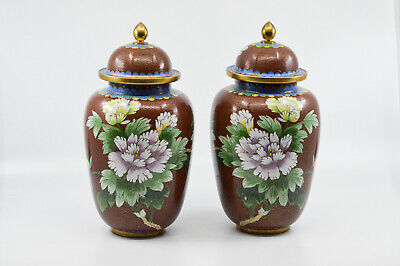 Vintage Chinese Cloisonne Pair Lidded Jars, 9.5 inches tall -🐘