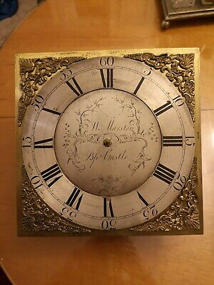 Antique brass dial longcase movement, grandfather clock movement. 30 hours