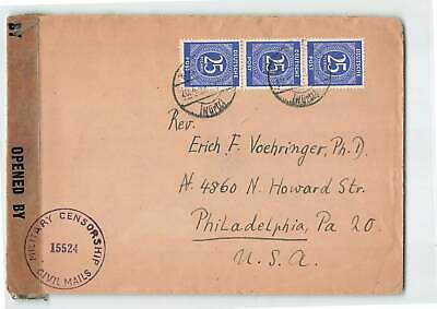 Germany 1946 Censored Cover To Usa