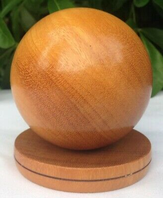 Beautifully Handturned Hardwood Sphere & Stand Desk Toy or Stress Reliever