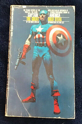 "Paperback Cover Poster CAPTAIN AMERICA: THE GREAT GOLD STEAL 14/""x24/"" 1968"