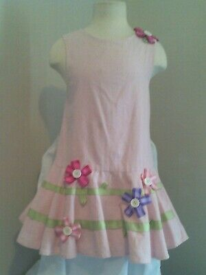 Girls Rare Editions Dress Size-6 Pink,White Polka Dots Ribbon And Button Flowers