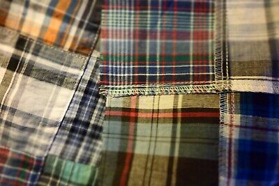 "Vtg Blue Plaid Cheater Quilt Top, Machine sewn Fabric 3"" Squares 37"" x 44"" New"