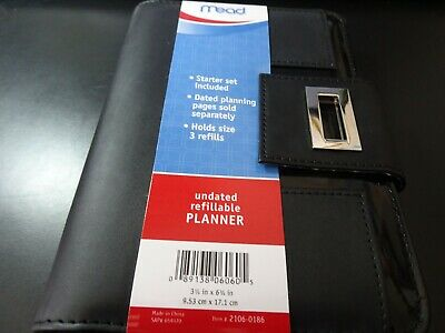 Mead Rapture Undated Refillable Day Planner 3.75 x 6.75 in, Black, Nice!