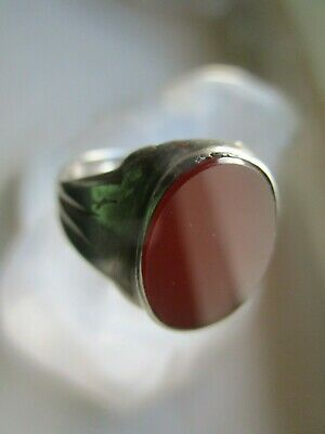 Large Antique Victorian 835 Silver Carnelian Signet Ring 19c.