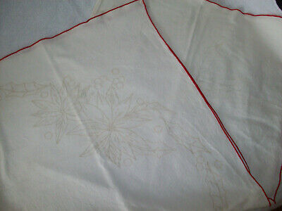Vintage Christmas stamped small tablecloth for embroidery + thread