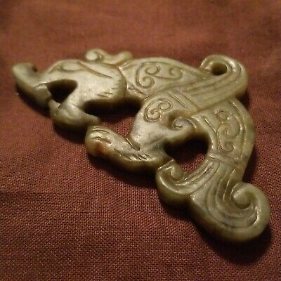 Chinese Nephrite Hand Carved Jade Dragon Pendant