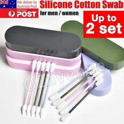 Reusable Cotton Swab Ear Cleaning Cosmetic Cotton Buds Silicone Swabs Portable