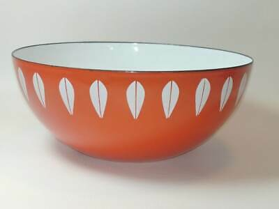 "Cathrineholm GRETE PRYTZ KITTELSEN Orange Lotus Enamelware Bowl 8"" Mid Century"