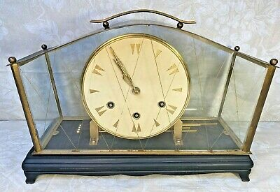 Unique German Mantel Clock with Etchings & Metal in Glass Strike Chimes Germany