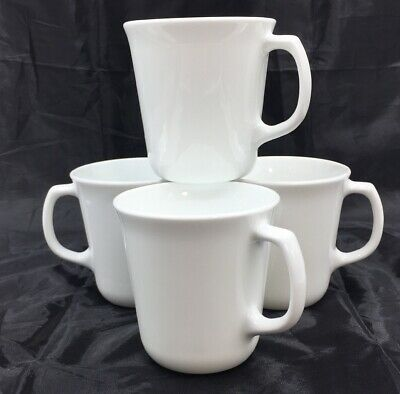 Corelle Corning Winter Frost White Coffee Cup Cups Mug D Handle • Set of 4