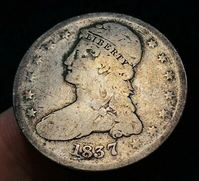 1837 Capped Bust Half Dollar 50C '50 CENTS' Type Ungraded US Silver Coin CC1178