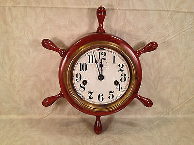 Seth Thomas 8 Day Lever Clock with Seconds Hand Runs Ships Wheel Case