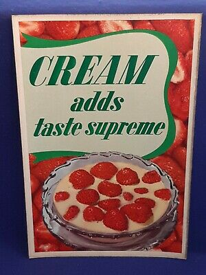 """Vtg 1950's Cream Dairy Lithograph Cardboard Poster Advertisement ORIG 14 x 21"""""""
