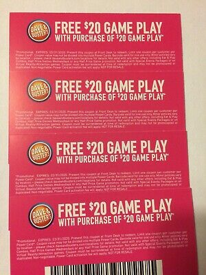 Dave And Busters $20 Off Game Play Coupons Expires 3/31/2020