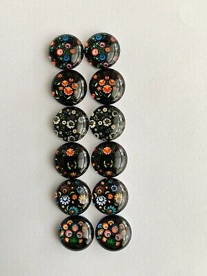 6 Pairs Of 12mm Glass Cabochons #639