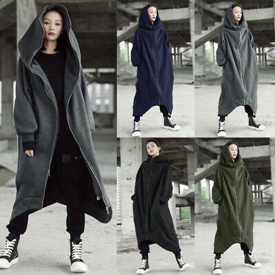 ZANZEA 8-24 Women Autumn Winter Hooded Jacket Cardigan Overcoat Warm Fleece Coat