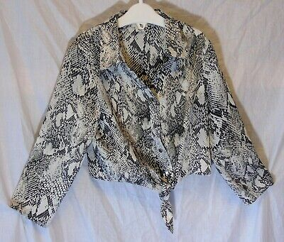 Girls River Island Black White Snakeskin Look Tie Fronted Blouse Top Age 5 Years