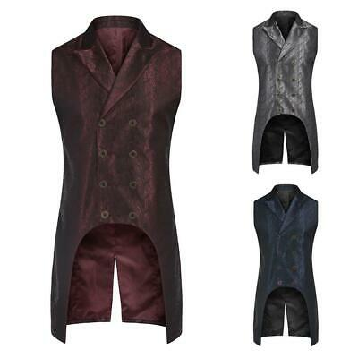 Men Fashion Turn Down Collar Sleeveless Jacquard Floral Gothic Waistcoat BRCE 01