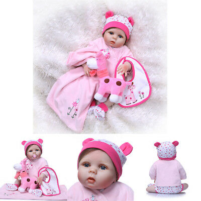 "22"" FULL BODY Silicone Realistic Reborn Baby Dolls Lovely Girl WATERPROOF"