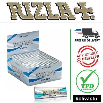 RIZLA SILVER MICRON KING SIZE Slim Ultra Thin Smoking Rolling Papers Box Booklet